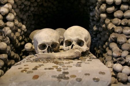 pandemic: Human skulls of pandemic victims of black death at a Kutna Hora ossuary at Sedlec in Czech Republic