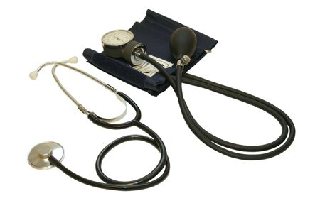 systolic: Sphygmomanometer aka blood pressure cuff and gauge isolated on white: one for stethoscope and one for the monitor Stock Photo