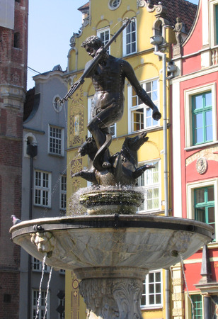 Neptunes Fountain in the Old Town in Gdansk, Poland