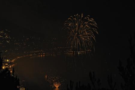 Fireworks on the sea Banco de Imagens