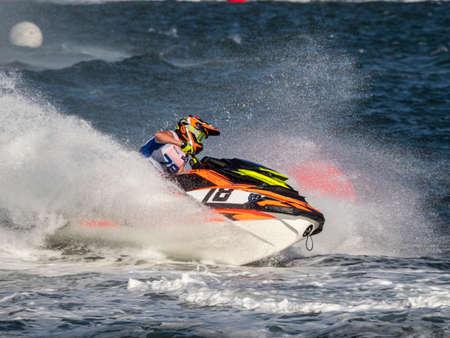 Olbia, Italy - June 02 - 2019 Aquabike world Championship grand prix of Italy Editorial