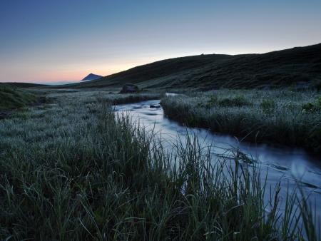 the bigger picture: Mountain stream at dawn Stock Photo