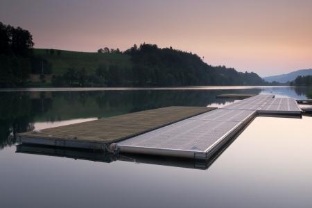 the bigger picture: Swimming platform for rowing regatta  Lake Rotsee Switzerland  Stock Photo