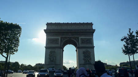 Paris, France- July 2018: city Triumph arc, center tourist spot