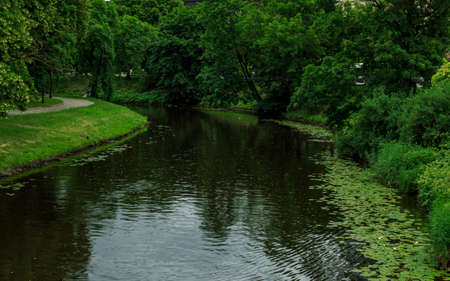 Riga city central sewerage water, park walking road, water greens and green trees