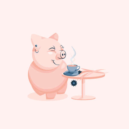 Vector illustration of a cartoon pink pig who is trapped in smelling fresh brewed coffee. A cup of coffee stands on a table.