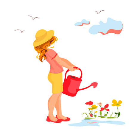 Vector illustration of a girl watering plants in the afternoon before sunset. She is not in a hurry and enjoys beautiful view of birds flying in the sky.