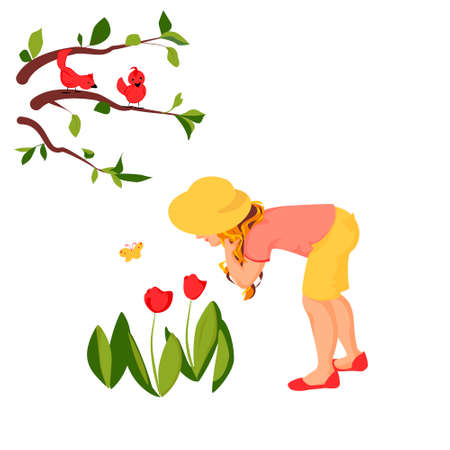 Vector illustration of a girl fascinated with the flowers while there are birds fascinated with the girl. Joy of gardening brings self fulfillment and harmony.