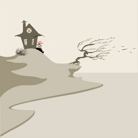 Windy seaside landscape with a lonely house and a tree. The house looks nice and cosy with the lights on inside. Willow stays on the edge and its leaves fly away to the sea. Vector illustration.