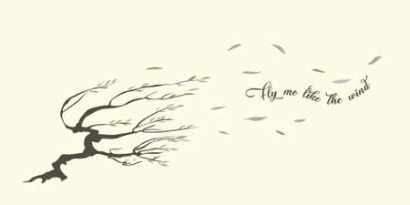 Strong wind blows leaves from the willow bending it to the ground. The tree is overwinded and twisted, its branches fly aside. Vector illustration can be used as a card, banner or wallpaper.