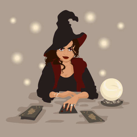 A fortune teller can tell what is coming and help or ruin everything. Mysterious witch grins as though hearing voices of cards and crystal ball. Vector illustration.
