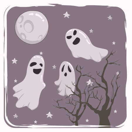 Three ghosts and the full moon in a cold autumn night. Spooky Halloween design can be used as a poster or greeting card. Illusztráció