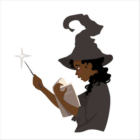 A young witch is bewildered by a book. Gorgeous girl holds the book in one hand and a magic wand in another..