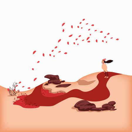 Vector illustration of a windy day in a hilly country. A path snaggles from a small meadow up to the hill where a lovely girl stands enjoying the weather and the view of the landscape. Ilustração