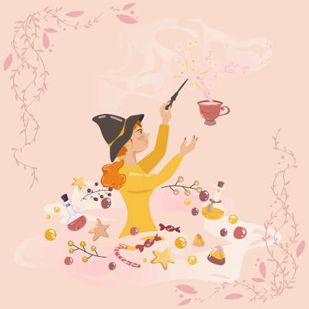 Cute young witch is making morning beverage. Everything is sparkling, flying and being combined, berries, potions, sweets, candies, bubbles and cakes. Big elegant cup sends sweet delicate savor.