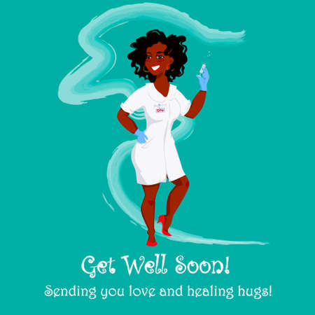 A colorful playsome get well soon card. Vector illustration of a nurse wishing best recovery and sending love and healing hugs.