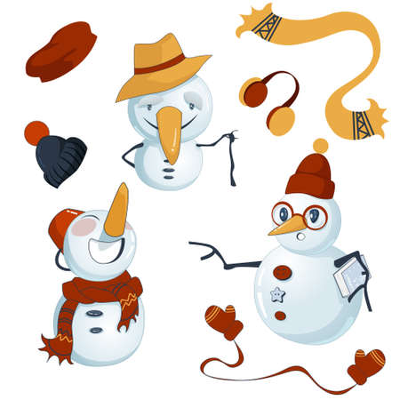 Set of three snowmen with extra winter outfit. There are snow old man, little laughing one and clever clog holding a book about snowflakes. Ilustração