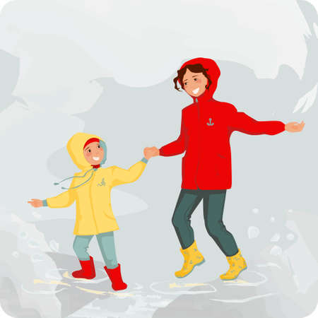 Happy mother and her kid jump in a puddle under the rain. Bright colors of their clothes make cold and chilly day nice and sunny. Vector illustration.