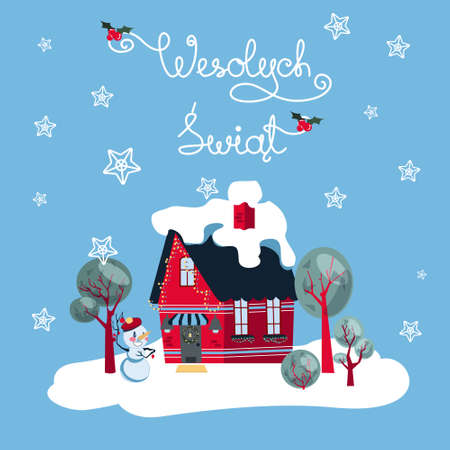 Wesolych Swiat card wishing Happy Holidays in Poish with a festive suburban house on blue background. Winterly cold surrounding, trees and snowman attract attention to cosy family look of home.