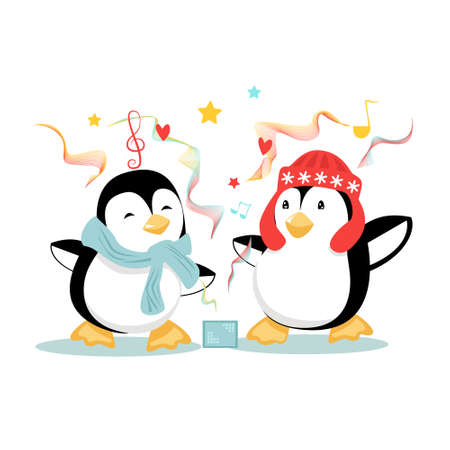 Two funny penguins dance with music all around them. Vector illustration on white background.