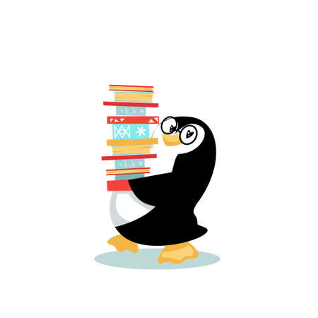 Cleverclogs penguin loves reading and adores books. Cartoon character holds big pile of books. Vector illustration isolated on white background.