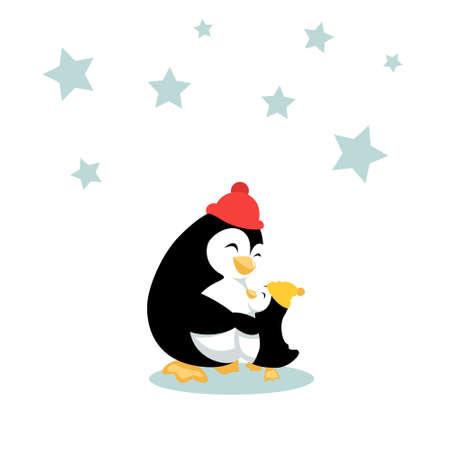 Mother penguin is hugging her baby penguin. Sweet family cuddles. Vector illustration isolated on white background. Vektorgrafik