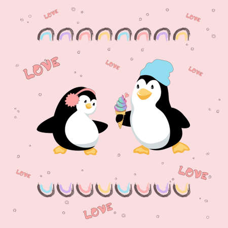 Penguins on date are falling in love with each other and yummy ice cream. Vector illustration on pink background. Vettoriali