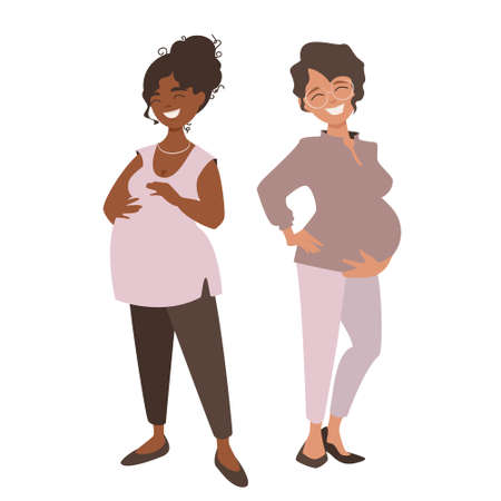 Two happy pregnant women. Pretty girls are happy to announce they are anticipating babies and share their joy. Vector illustration isolated on white background.