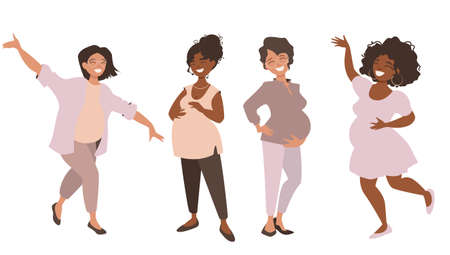 Group of happy pregnant women. Pretty girls are happy to announce they are anticipating babies and share their joy.Vector illustration isolated on white background.