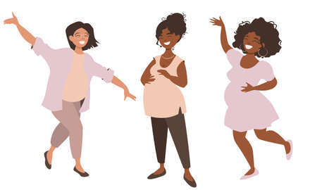 Group of happy pregnant women. Pretty girls are happy to announce they are anticipating babies and share their joy .Vector illustration isolated on white background.