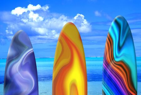 Surf Boards against tropical ocean background