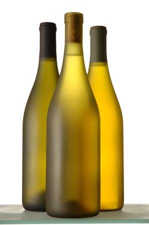 grouping: Three White wine Bottles close grouping