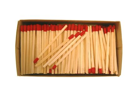 Wooden Matches in cardboard box Stockfoto