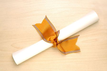 credentials: Diploma with ribbon