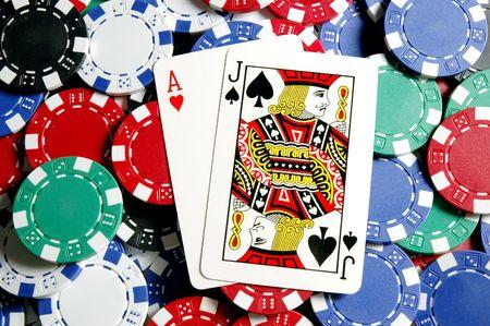 jack of clubs: BlackJack hand on chips