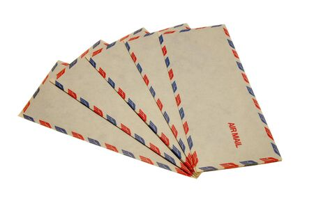 fanned: Air Mail Envelopes fanned on white background Stock Photo