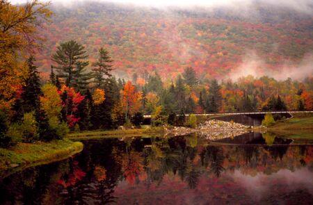 equinox: New Hampshire Lake Autumn Stock Photo