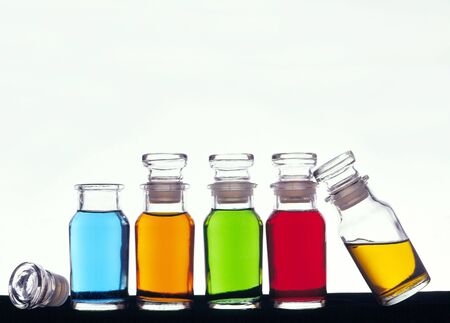 Apothecary bottles with colored liquid