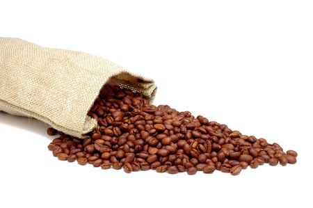 Burlap Sack with Coffee Beans spilling out - isolated