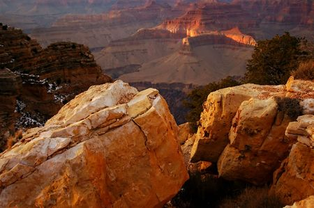 Grand Canyon with large rocks in foreground and some snow Stock Photo - 706020