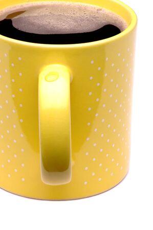 Yellow Coffee Mug with droplet on handle Stok Fotoğraf