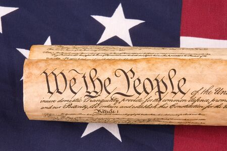 preamble: Close up of United States Constitution on Flag