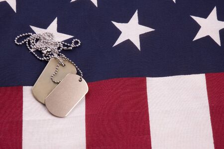 Military Dog Tags on American Falg photo