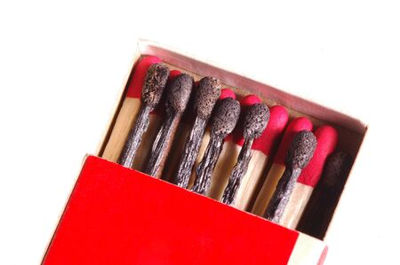 Match Box with used matches among new matches Imagens - 1629460