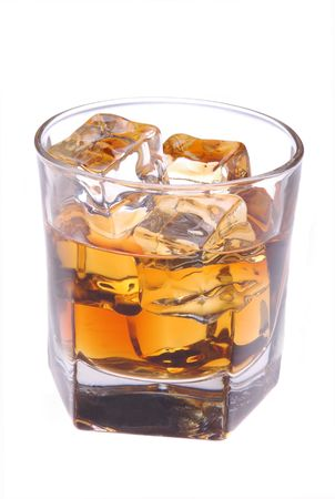 BARWARE: Glass with Whiskey and Ice isolated over white