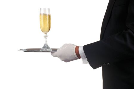 serving tray: Man in Tuxedo Serving Champagne Glass isolated over white