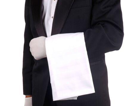 meseros: Con camarero de trapo se cubre lo largo de m�s de Brazo aislados blanco