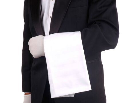 butler: Waiter With Towel Draped Over Arm isolated over white Stock Photo