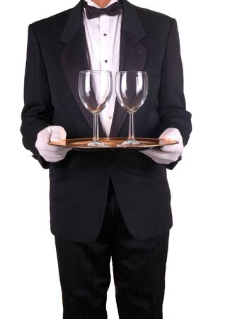 Man in Tuxedo and Formal Gloves Holding Tray and Wine Glasses isolated over white Stock Photo - 2370999