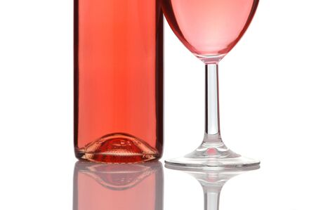 white zinfandel: Blush or Rose Wine Bottle and Glass isolated over white